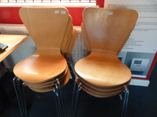 Lot 15 - *Eight Chrome Framed Chairs with Plywood Seats and