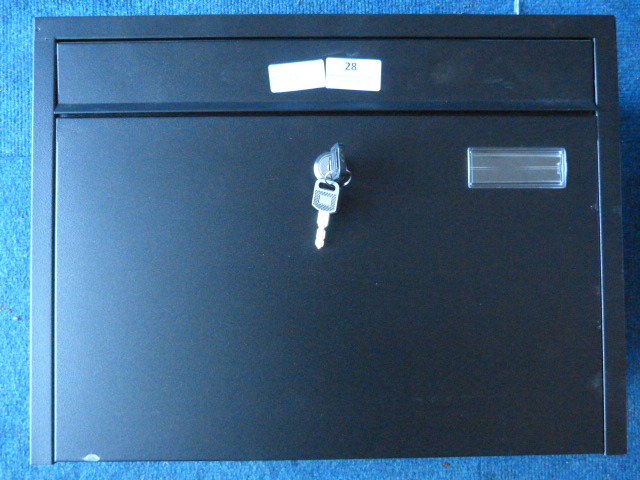 Lot 28 - *Black Metal Letter Box with Key