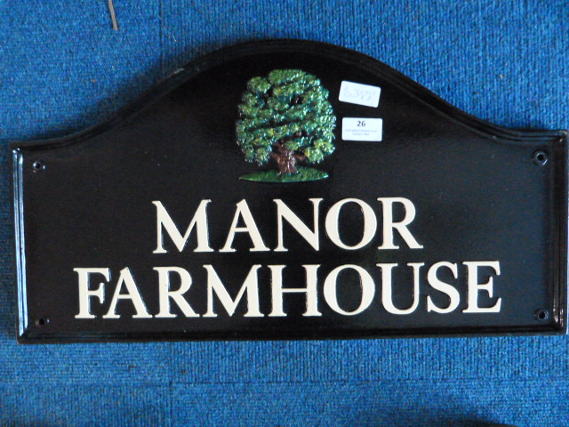 "Lot 26 - *Metal House Sign ""Manor Farmhouse"""