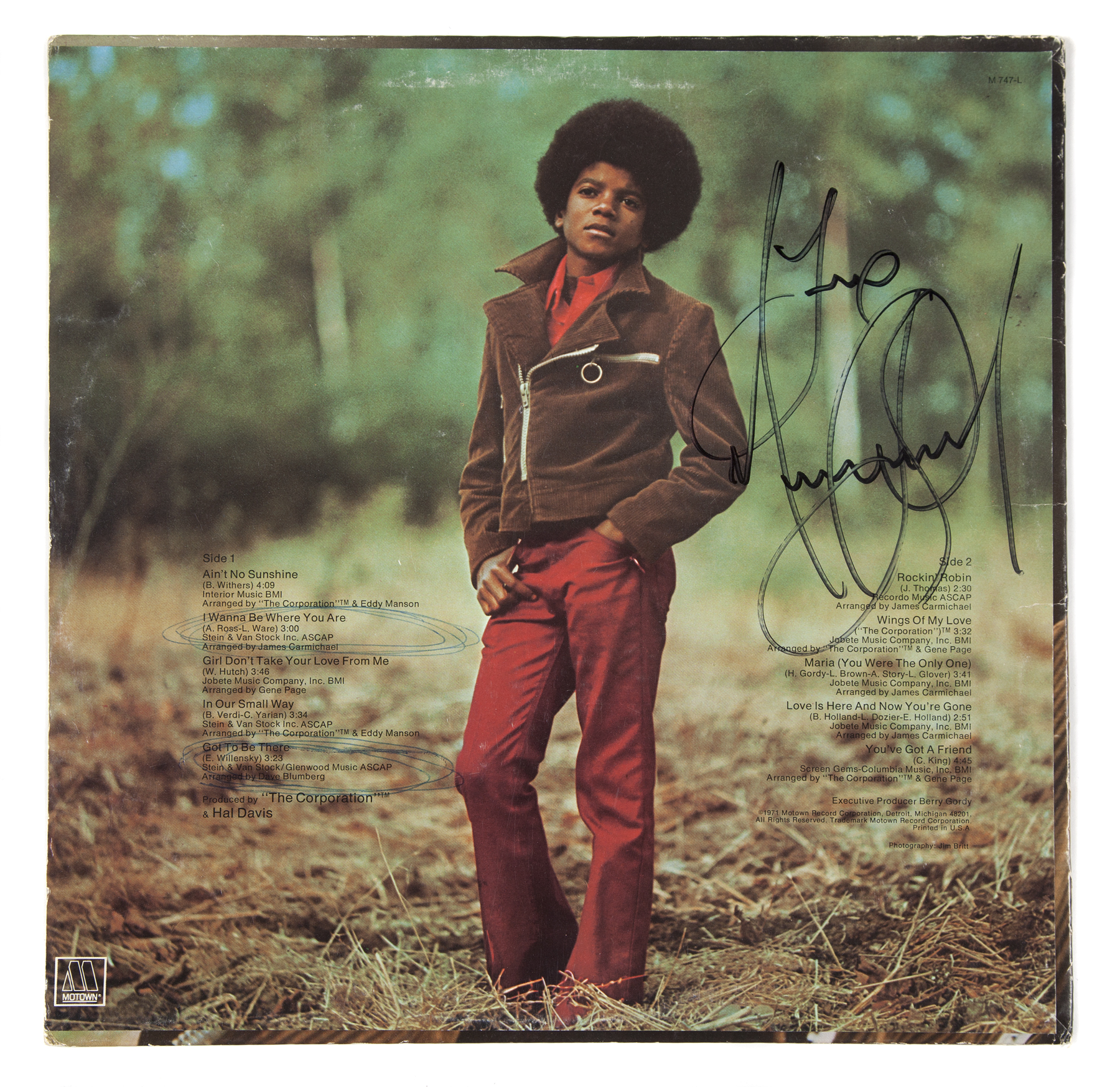 michael jackson signed album cover an original album
