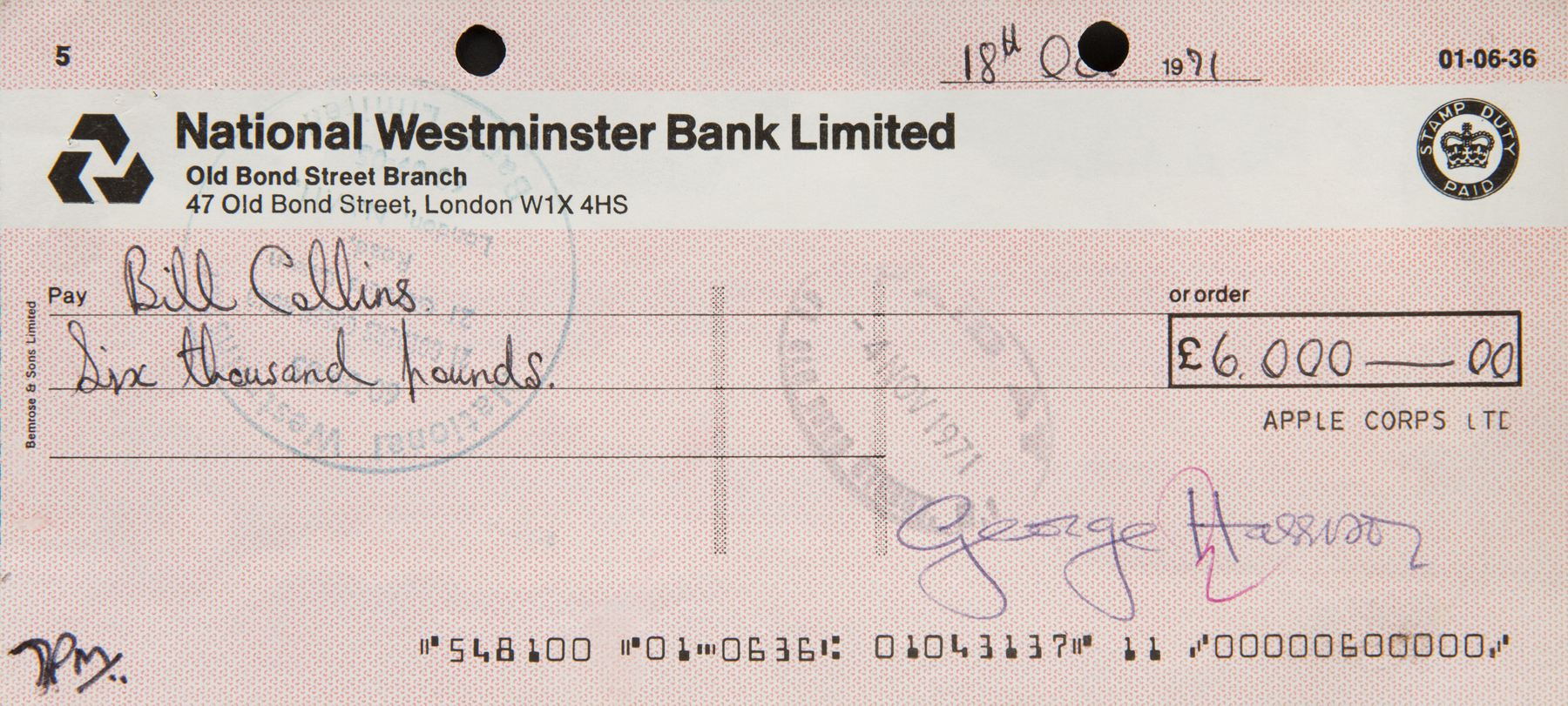 Lot 313 - GEORGE HARRISON SIGNED CHECK A George Harrison signed Apple Corps check written to Bill Collins,