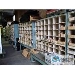 CONTENTS (8) PIGEON HOLE RACKS INCLUDING TUBES, INSULATORS, CONNECTORS, ELECTRONIC HARDWARE,