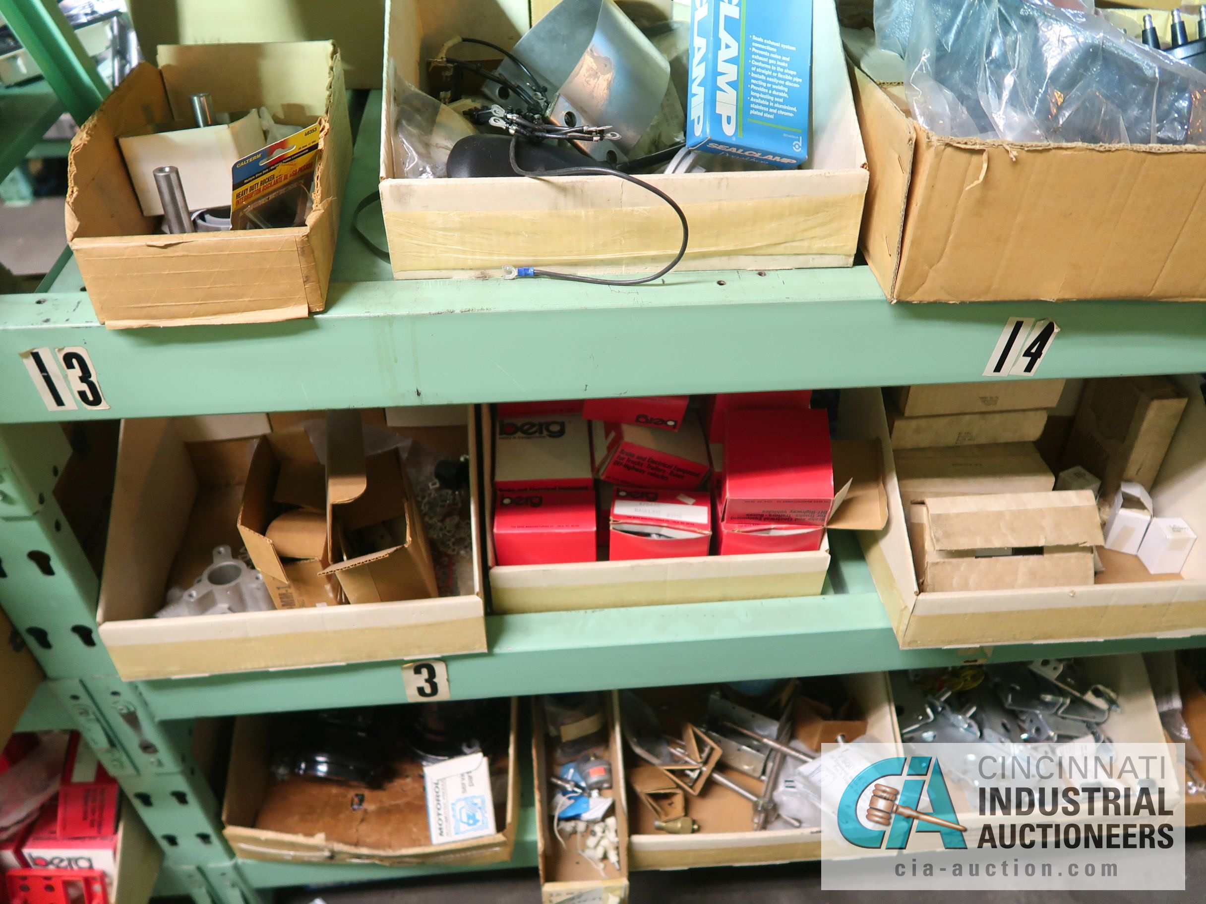 CONTENTS OF (5) RACKS INCLUDING MISCELLANEOUS AUTOMOTIVE PARTS, LIGHTS, FILTERS, ENGINE PARTS, RIMS, - Image 9 of 29