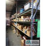 CONTENTS (6) RACKS INCLUDING MODEMS, TONERS, RELAYS, ELECTRONIC PARTS, JACKS, CABLES, POWER