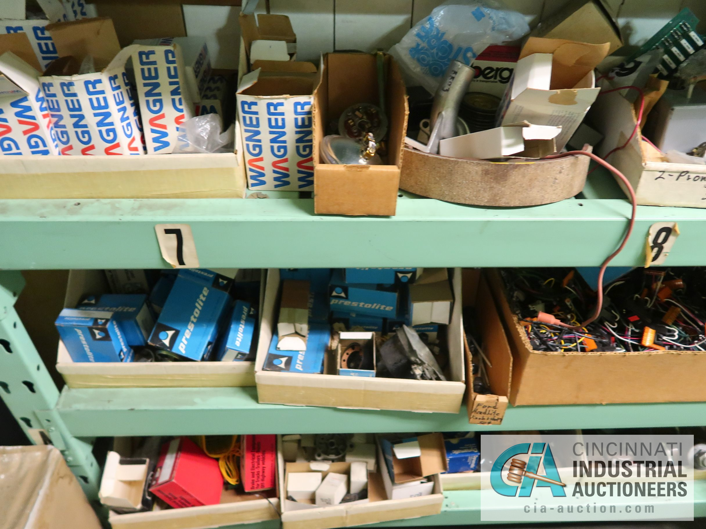 CONTENTS OF (5) RACKS INCLUDING MISCELLANEOUS AUTOMOTIVE PARTS, LIGHTS, FILTERS, ENGINE PARTS, RIMS, - Image 3 of 29