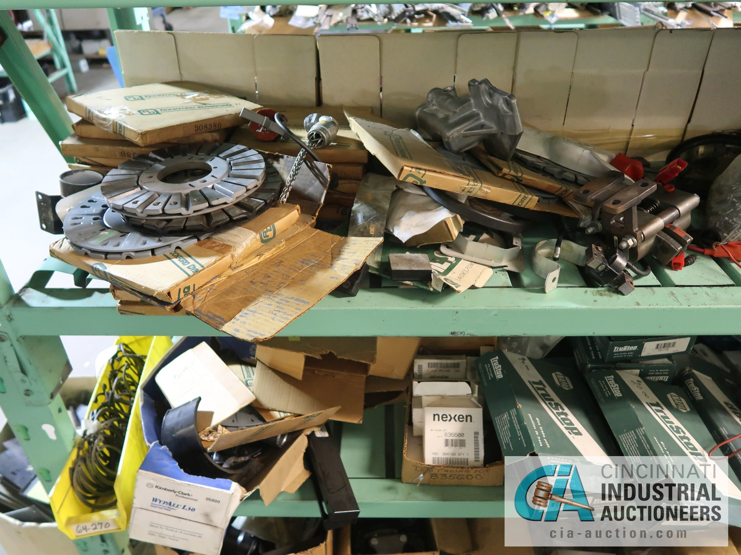 CONTENTS OF (6) RACKS INCLUDING MISCELLANEOUS AUTOMOTIVE PARTS, BREAKS, ROTORS, GASKETS, MOUNTING - Image 37 of 38