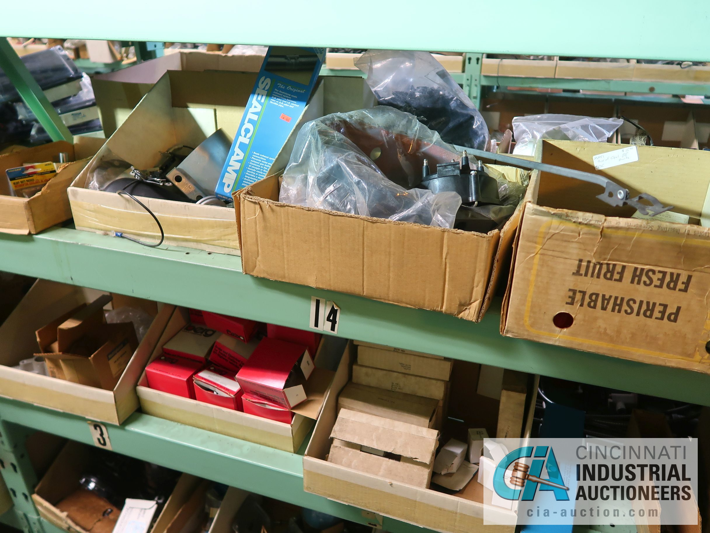 CONTENTS OF (5) RACKS INCLUDING MISCELLANEOUS AUTOMOTIVE PARTS, LIGHTS, FILTERS, ENGINE PARTS, RIMS, - Image 11 of 29