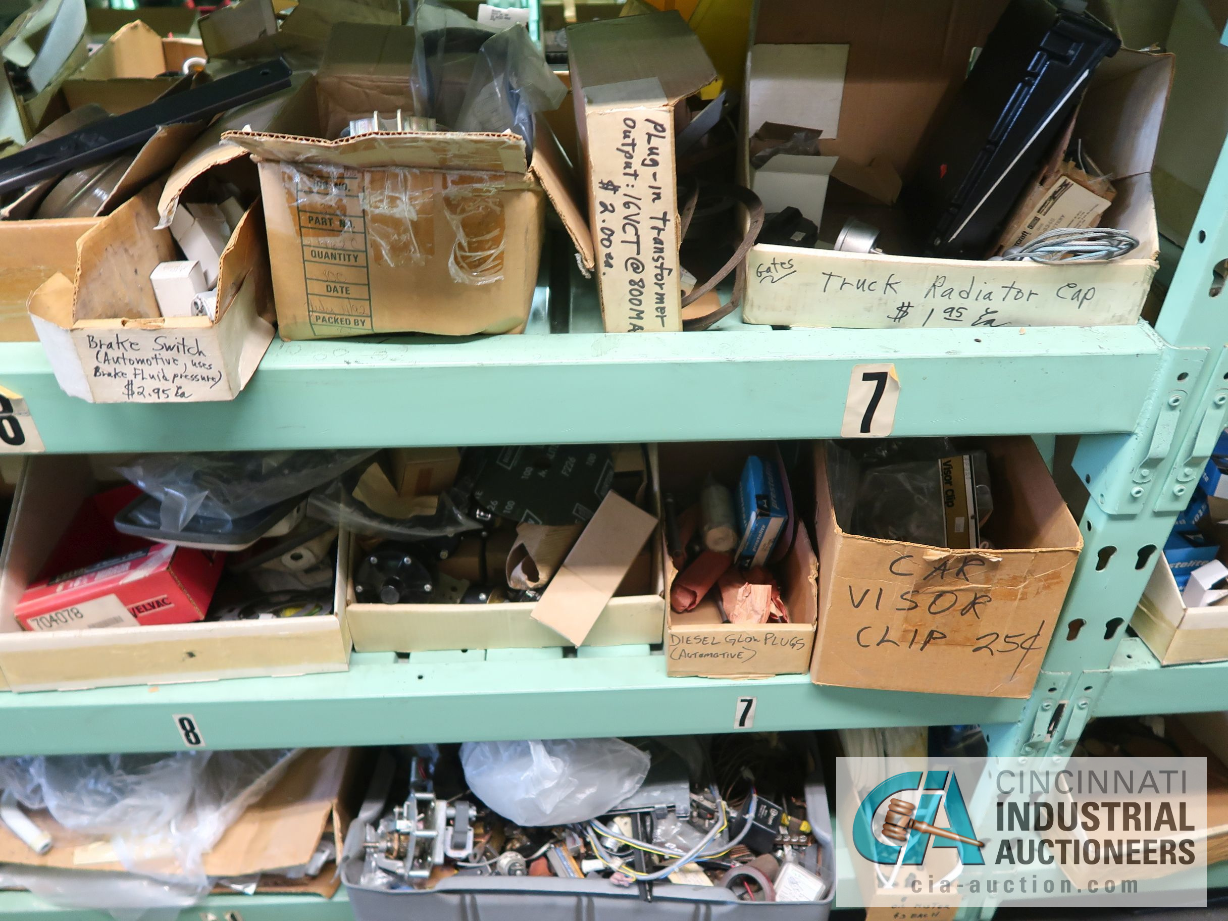 CONTENTS OF (5) RACKS INCLUDING MISCELLANEOUS AUTOMOTIVE PARTS, LIGHTS, FILTERS, ENGINE PARTS, RIMS, - Image 25 of 29