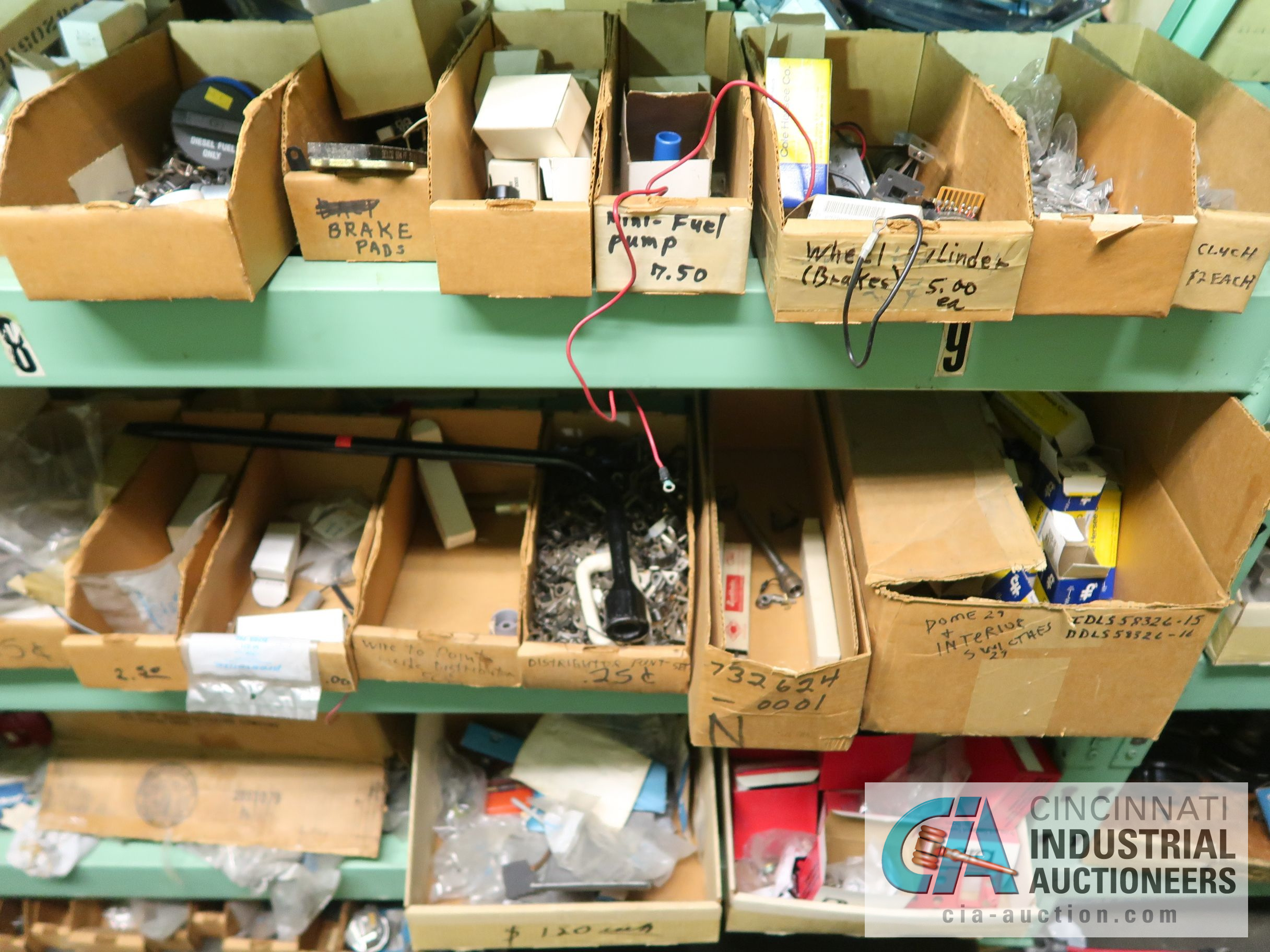 CONTENTS OF (5) RACKS INCLUDING MISCELLANEOUS AUTOMOTIVE PARTS, LIGHTS, FILTERS, ENGINE PARTS, RIMS, - Image 8 of 29