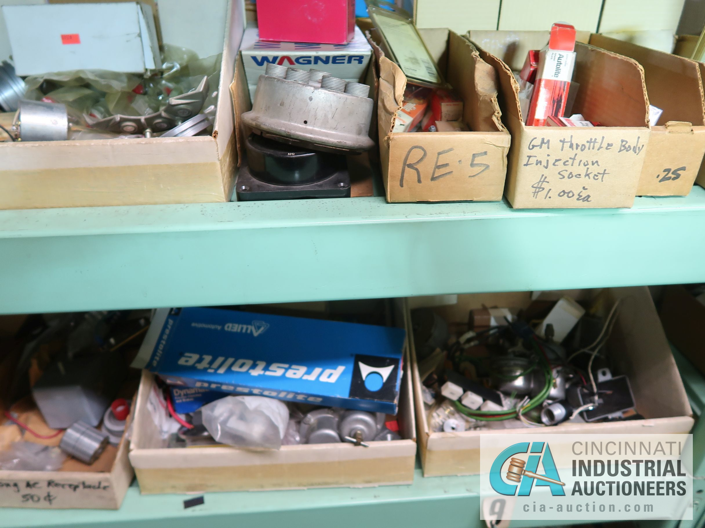CONTENTS OF (5) RACKS INCLUDING MISCELLANEOUS AUTOMOTIVE PARTS, LIGHTS, FILTERS, ENGINE PARTS, RIMS, - Image 5 of 29