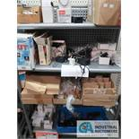 CONTENTS ON (2) DISPLAY SHELVES INCLUDING POWER CORDS, USB WALL CHARGERS, BATTERIES **NO FIXTURES**