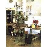 LOT: BRIDGEPORT ROUND OVERARM MILL MDL J, 1 HP HEAD W/ TABLE & CABINET W/ CONTENTS