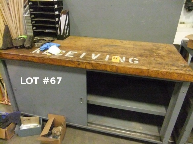 Lot 67 - LOT: RECEIVING TABLE W/ CONTENTS