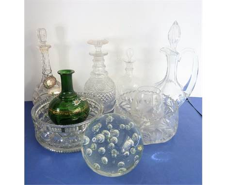 A good selection of glassware to include an early 19th century cut-glass mallet-shaped decanter with mushroom stopper, a heav