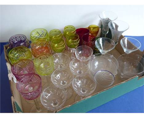 A good selection of glassware to include a set of four flash-cut hock glasses together with three other similar flash-cut gla