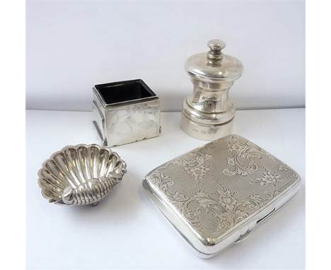 Silver etc. to include an early 20th century engraved and monogrammed silver cigarette case (spring-loaded opening button mis