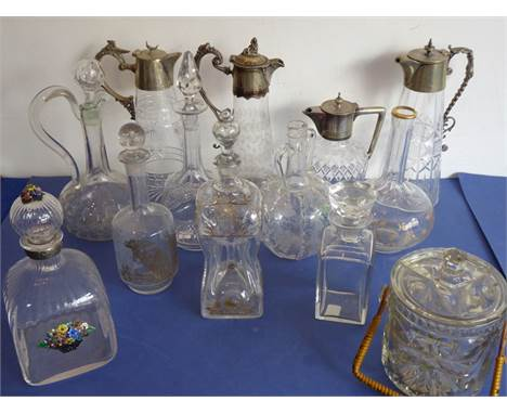 A good selection of glassware etc. to include four late 19th/early 20th century silver-plated mounted cut-glass claret jugs (