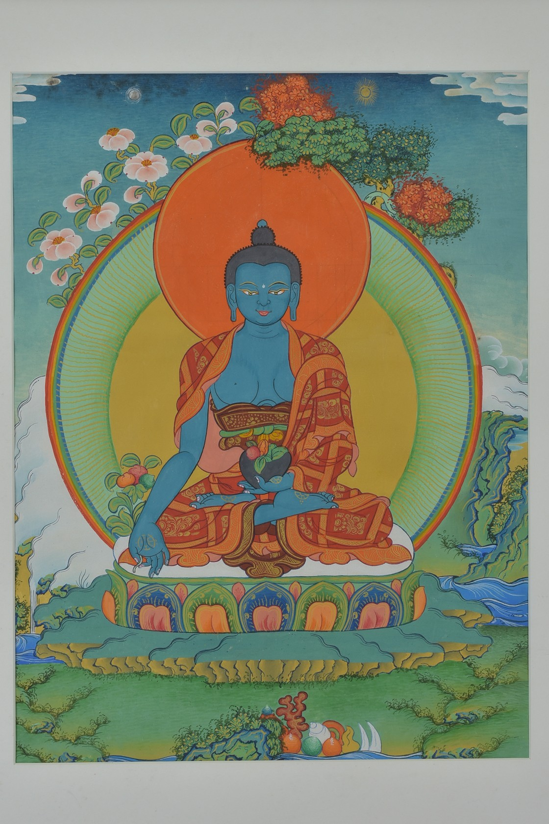Lot 48 - A traditional style Buddhist Thangka painting of Buddha Gautama sitting in a lotus pose holding a bo