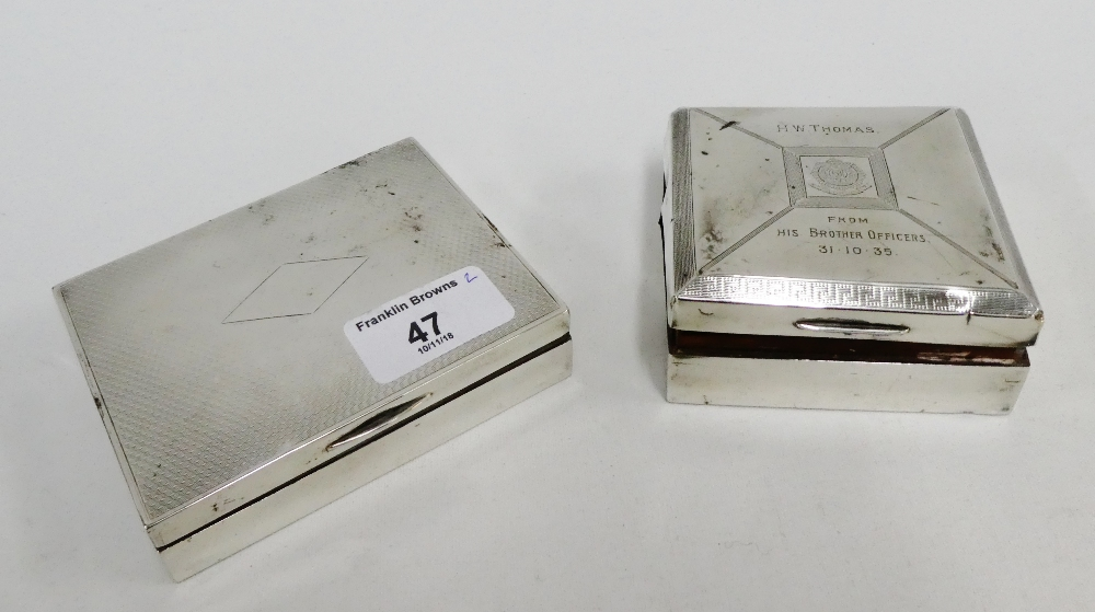 Lot 47 - Birmingham silver cigarette box 10 x 9cm together with another smaller (2)