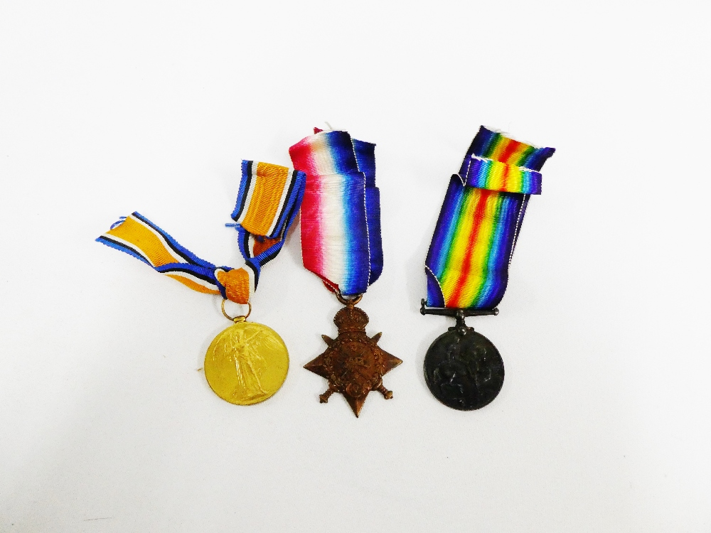 Lot 17 - WWI group of three medals to include War, Victory and 1914 Star awarded to 22045 Sapr DC Grant,