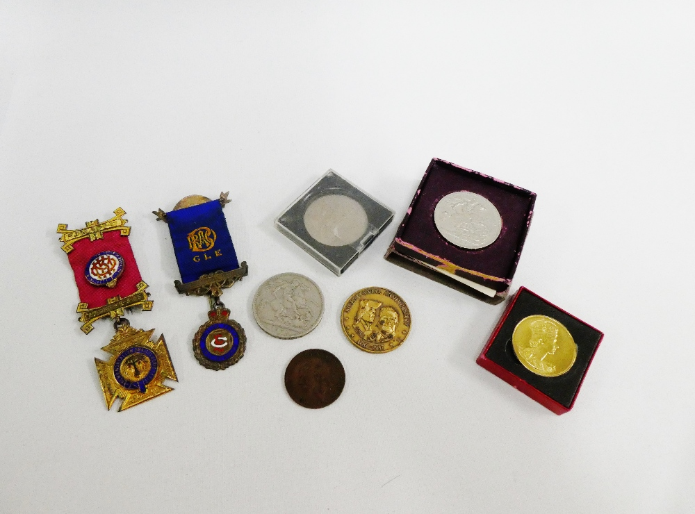 Lot 16 - A mixed lot to include two silver and enamel Masonic medallions, two 1951 Festival of Britain