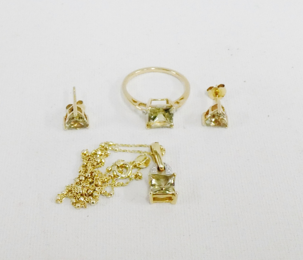 Lot 30 - A collection of pale green gemstone set jewellery to include a 9 carat gold dress ring, 14 carat
