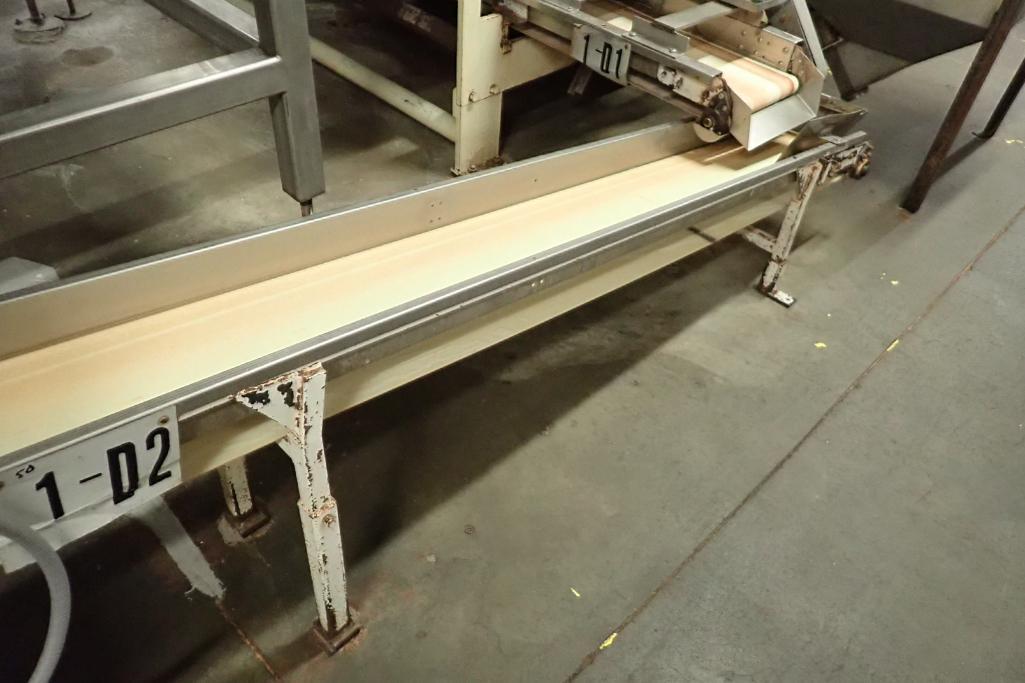 Incline belt conveyor, 10 ft. long x 12 in. wide x 16 in. infeed x 32 in. discharge, mild steel fram - Image 3 of 6