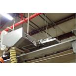SS belt conveyor, 60 in. long x 18 in. wide, suspended from ceiling. **Rigging Fee: $250**