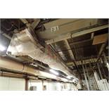 SS belt conveyor, 170 ft. long x 18 in. wide, suspended from ceiling. **Rigging Fee: $1500**