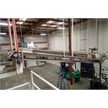 Mild Steel belt conveyor, 16 ft. long x 18 in. wide, suspended from ceiling. **Rigging Fee: $250**