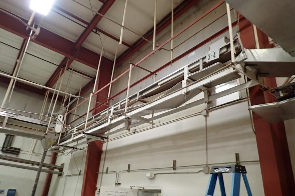 Mild Steel belt conveyor, 30 ft. long x 15 in. wide, suspended from ceiling. **Rigging Fee: $400** - Image 2 of 4