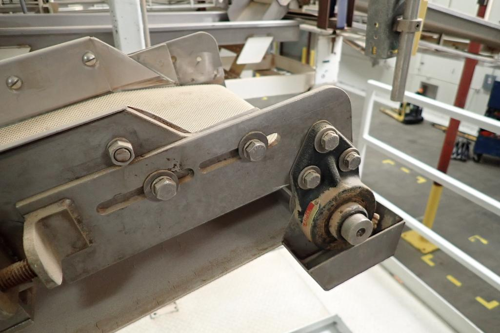 SS belt conveyor, 151 in. long x 12 in. wide, suspended from scale frame. **Rigging Fee: $300** - Image 5 of 6