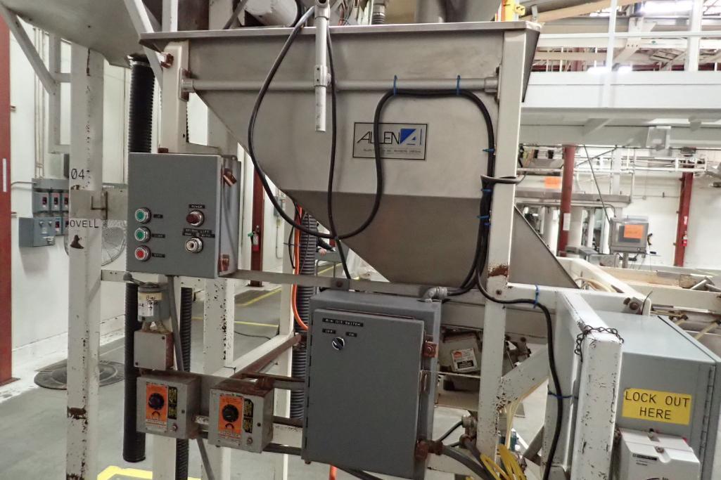 Allen SS hopper vibratory feeder system, mild steel frame, for filling bag in box. **Rigging Fee: $4 - Image 3 of 12