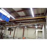SS belt conveyor, 50 ft. long x 18 in. wide, suspended from ceiling. **Rigging Fee: $750**