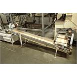 Incline belt conveyor, 10 ft. long x 12 in. wide x 16 in. infeed x 32 in. discharge, mild steel fram