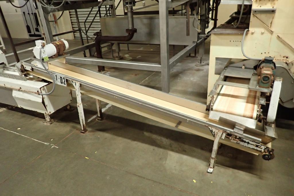 Incline belt conveyor, 10 ft. long x 12 in. wide x 16 in. infeed x 32 in. discharge, mild steel fram