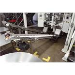 SS Incline rubber belt conveyor, cleated, 120 in. long x 12 in. wide, 48 in discharge. **Rigging Fee