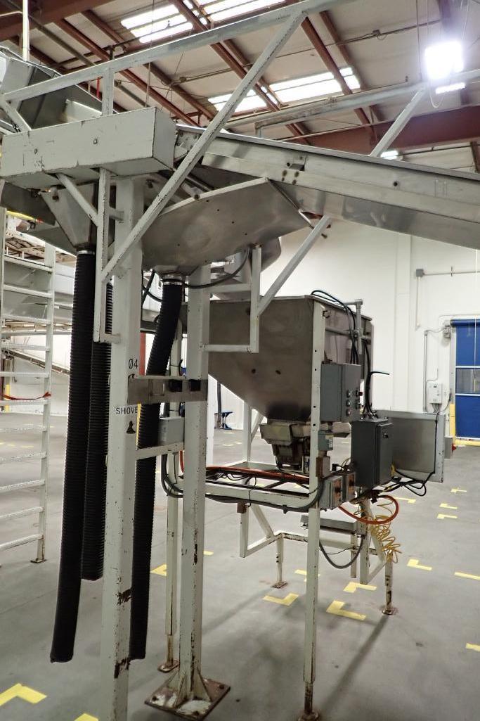 Allen SS hopper vibratory feeder system, mild steel frame, for filling bag in box. **Rigging Fee: $4 - Image 7 of 12