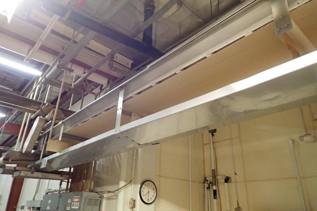 SS belt conveyor, 120 ft. long x 18 in. wide, suspended from ceiling, with motor and drive. **Riggin - Image 5 of 7