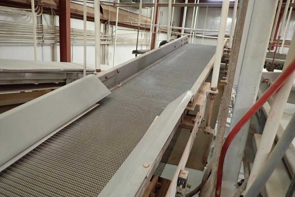 Wire belt conveyor, 150 in. long x 16 in. wide, mild steel frame, suspended from ceiling. **Rigging - Image 2 of 3