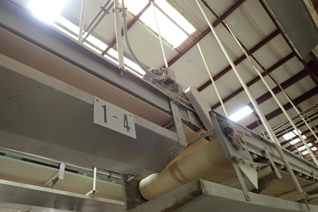 SS belt conveyor, 22 ft. long x 18 in. wide, suspended from ceiling, with motor and drive. **Rigging - Image 5 of 6