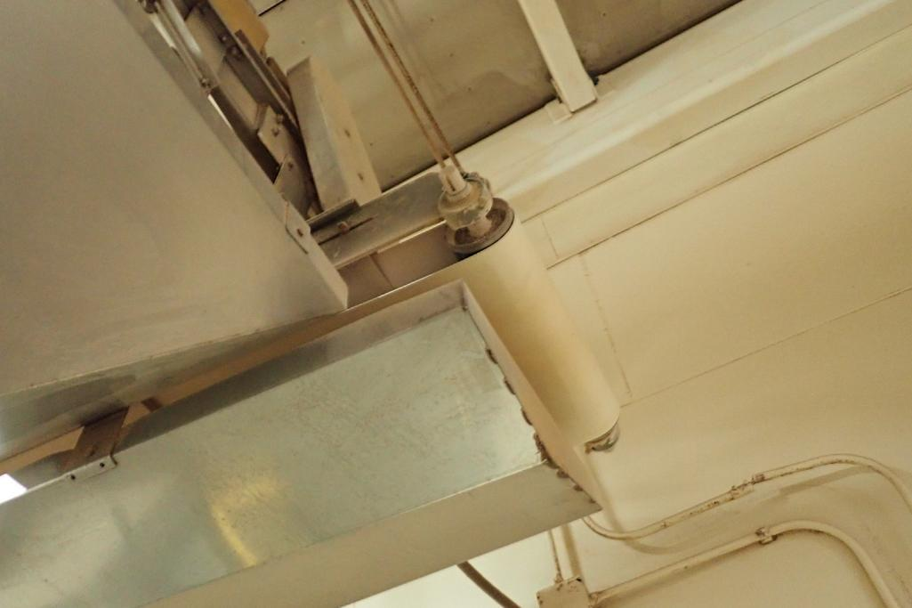 SS belt conveyor, 26 ft. long x 18 in. wide, suspended from ceiling, with motor and drive. **Rigging - Image 2 of 6