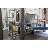 SS hydraulic tote dumping station, 68 in. to the bottom of platform, 108 in. pivot into SS hopper, w