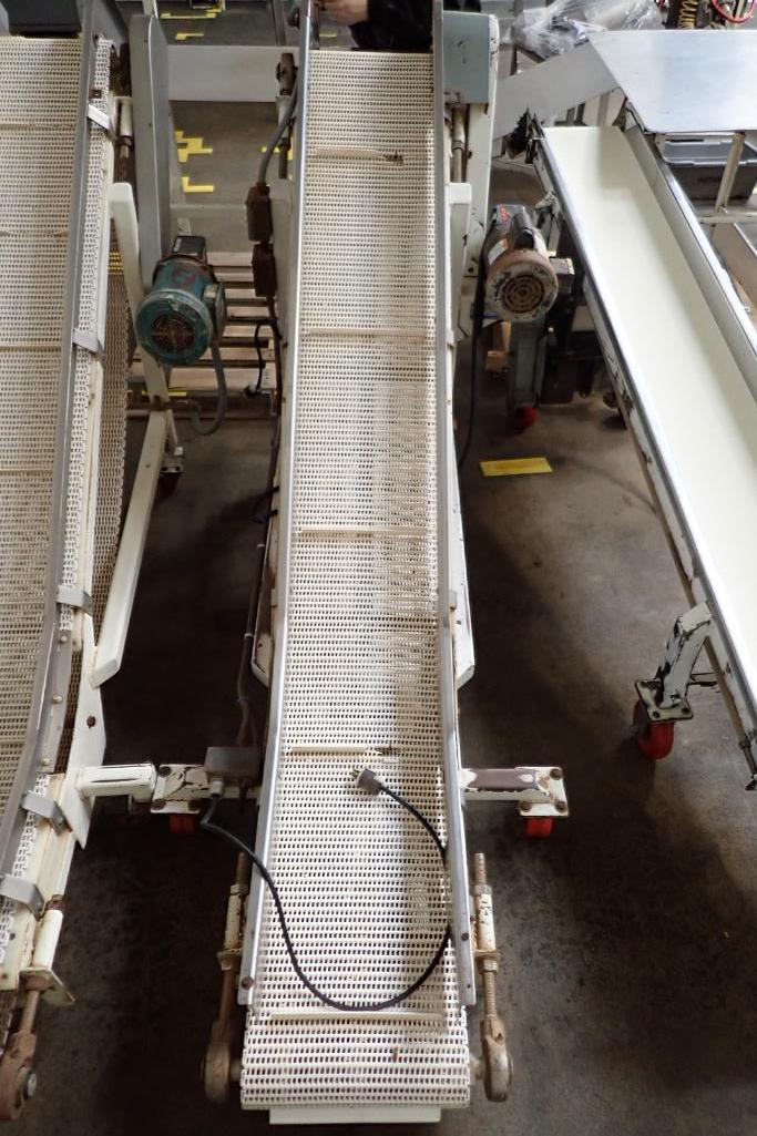 Mild Steel white cleated interlock belt conveyor, 8 ft. long x 12 in. wide, 42 in. discharge, on cas - Image 2 of 6