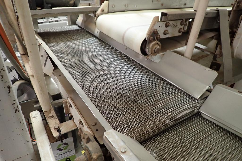 Wire belt conveyor, 48 in. long x 16 in. wide, mild steel frame, suspended from ceiling. **Rigging F - Image 2 of 6