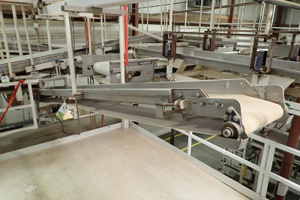 SS belt conveyor, 151 in. long x 12 in. wide, suspended from scale frame. **Rigging Fee: $300** - Image 2 of 6