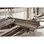 Wire belt conveyor, 48 in. long x 18 in. wide, mild steel frame, suspended from ceiling. **Rigging F