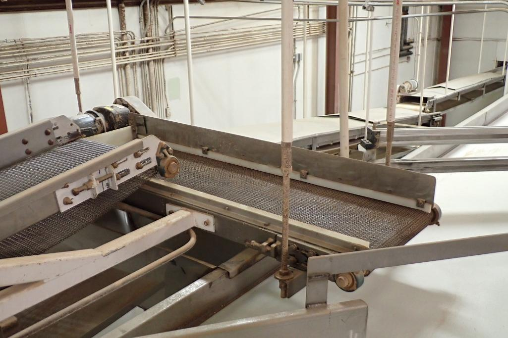 Wire belt conveyor, 48 in. long x 18 in. wide, mild steel frame, suspended from ceiling. **Rigging F - Image 3 of 5