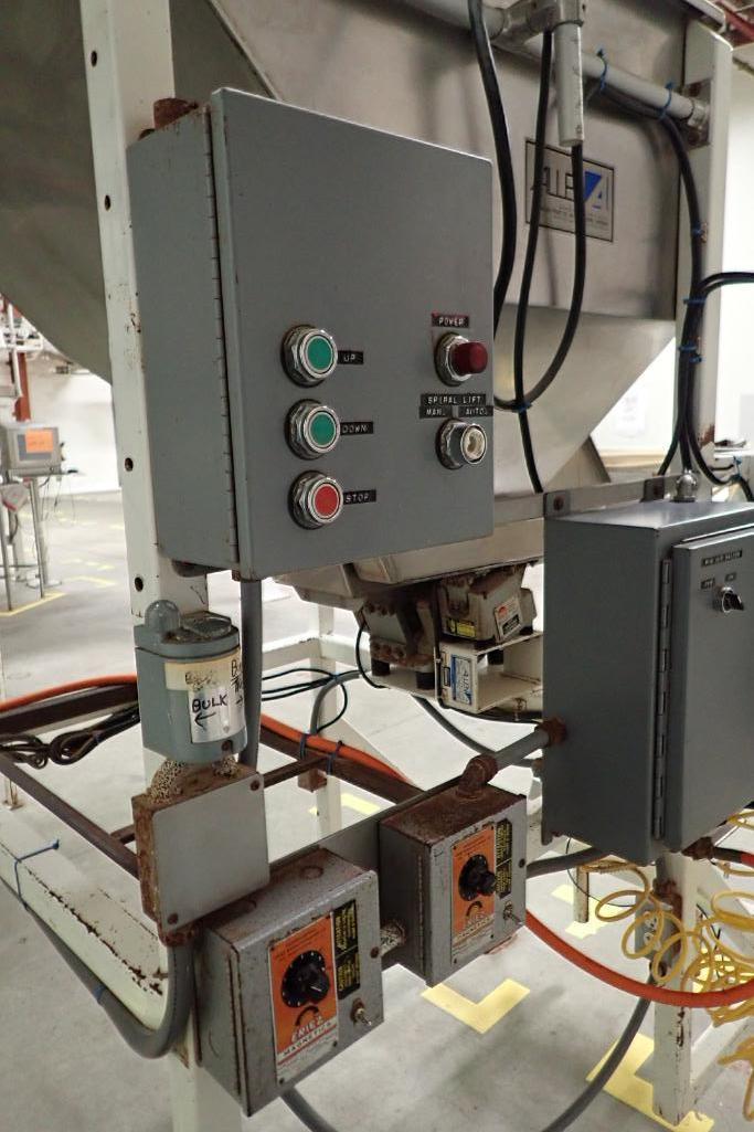 Allen SS hopper vibratory feeder system, mild steel frame, for filling bag in box. **Rigging Fee: $4 - Image 10 of 12