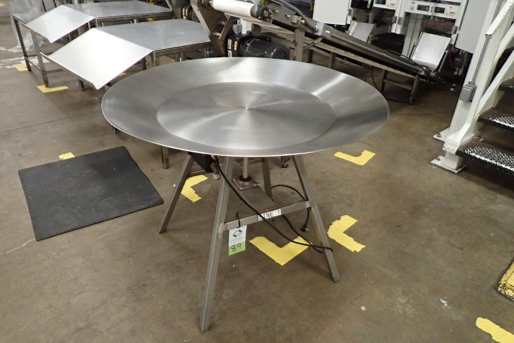 SS rotating accumulating table, 44 in dia., with drive. **Rigging Fee: $75**